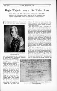 Hugh Walpole Writing On Sir Walter Scott
