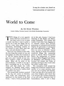The World To Come - Hugh Walpole Article In The Living Age Magazine November 1940