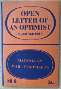 open letter of an optimist - hugh walpole